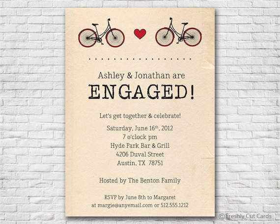 Two Bicycles Engagement Invite - Printable or Printed (w/ FREE Envelopes)