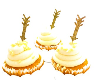 24 Gold Glitter Arrow Cupcake Toppers - Food Picks - Party Picks