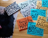 Farmers for Bernie hand-stamped linocut fabric patch