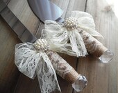 Ready to Ship ~~~ Rustic Burlap and Lace Cake Server Set.