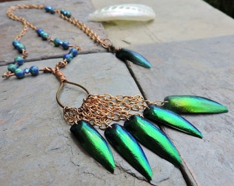 Whimsical Iridescent Green and Blue Elytra/ Elytron/Jewel Beetle Wings Copper and Malachite Long Necklace. Goddess Earrings/ Fairy Tale