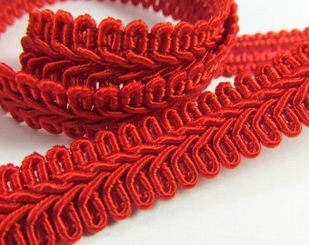 Red 1/2 inch or 13mm Romanesque Flat Gimp Trim sold by the yard
