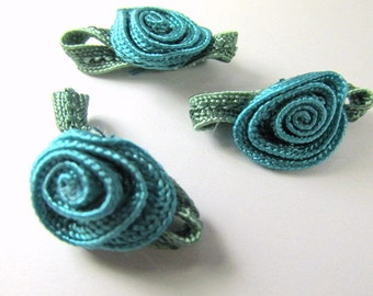 Teal Crochet Ribbon Flower Appliques with Olive Green Leaves (3)