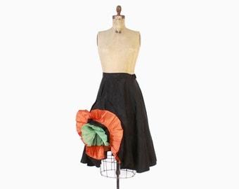 Vintage 50s PETTICOAT / 1950s Ruffled Black Half Slip Cha Cha Crinoline XS - M