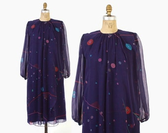 Vintage 80s HANAE MORI DRESS / 1980s Abstract Print Purple Silk Chiffon Dress S - M