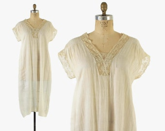 Vintage 20s NIGHTGOWN / 1920s Lace Trim Ivory Semi Sheer Cotton Voile Slip Dress L