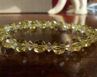 Yellow crystal necklace citrine faceted beaded necklace jonquil crystal beads