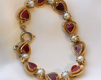 Vintage Red Enamel Hearts And Faux Pearls Bracelet