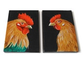 Chicken art, Rooster and Hen miniature paintings, ACEO SET OF 2