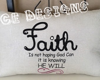 Faith saying embroidered pillow-pilliw decor with Faith saying