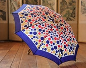 Vintage Nylon Multi-Color Polka Dot Umbrella / Mid-Century Parasol