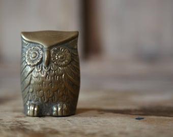 Vintage Brass Owl / Leonard Solid Brass Figurine /  Rustic Woodland Home Decor
