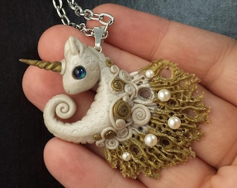 Unicorn Seahorse Pearls and Gold Polymer Clay Pendant