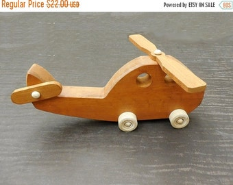 25% store sale Wood Toy Helicopter Chopper Pull Toy Hand cut Scroll sawn