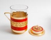 Vintage Russian aluminium tea glass holder with cover, Enameled decor.