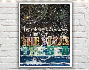 sea art- mixed media collage art - sea print - ocean decor - ocean quotes