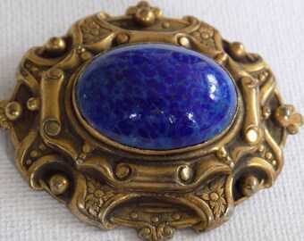 Vintage brooch, Victorian  brooch, blue Lapis Lazuli and antique bronze brooch, retro brooch/pendant, vintage jewelry