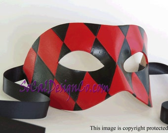 Mens Masquerade Mask - Black - Red - Leather Mask - Halloween Mask - Masquerade Mask - Leather Masks – Venetian Mask – Leather Mask