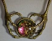 Steampunk Dragon Claw necklace, Dragon claw, Steampunk necklace, snakeskin pendant, gothic necklace, steampunk necklace