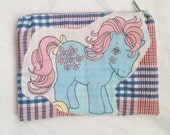 My little pony upcycled vintage style zipper top pencil or cosmetic bag bowtie mlp g1