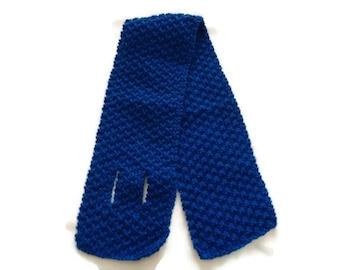 Womens Blue Key hole Scarf, Blue Scarf, Short Scarf, Unisex Scarf, Keyhole Scarf