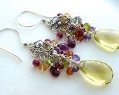 Lemon Quartz and Bali Silver Chandelier Earrings. Christmas Gift. Gemstone Jewelry. Cluster Earrings. Statement Earrings. Beadwork Jewelry