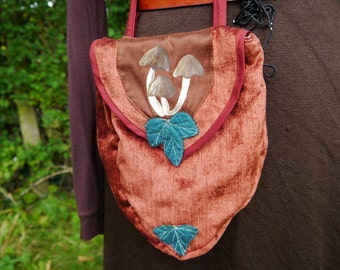 SALE Russet Toadstools Belt Pouch with Ivy Leaves OOAK Pixie Hippy Boho Psy Mori