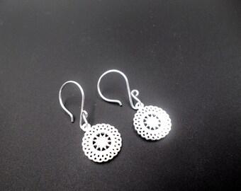 Sterling Silver Earrings, Silver Filigree Sun Earrings, Dangle Drop Earrings, Sterling Silver Jewelry, Tree Earrings, Statement Earrings