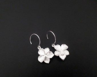 Sterling Silver Earrings, Silver Flower Earrings, Dangle Drop Earrings, Sterling Silver Jewelry, Petal Flower Earrings