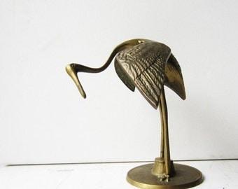 ON SALE Vintage Brass Bird - Egert Crane -  Figurine - Statue - Sculpture - Nature - Art Nouveau Style