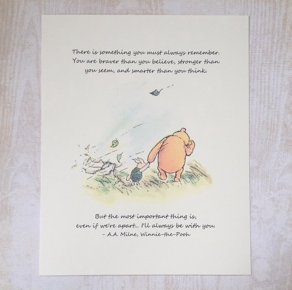 Always Remember - Winnie the Pooh Quote - Classic Pooh and Piglet 8x10 Nursery Print