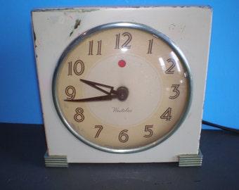 Vintage Mid Century Metal Alarm Desk Clock - Westclox