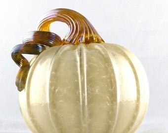 2016 Blown Glass Ivory Round Pumpkin