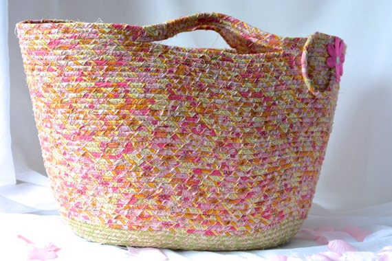 Pink Tote Bag, Handmade Coiled Fabric Basket, Pretty Moses Basket, Lovely Storage Organizer, Pink Toy Bin, Nursery Book Holder