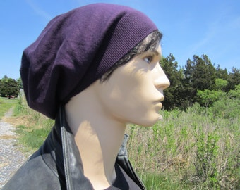 Beanies for Men Cashmere Hats Slouchy Tam Purple Light Weight Beret Hipster BOHO Clothing A49