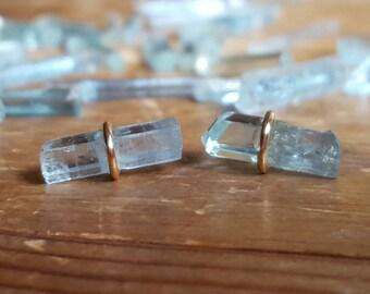 Aquamarine Earrings Raw Aquamarine Stud Earrings March Birthstone Jewelry Raw Crystal Aquamarine Studs 14K Gold Studs Womens Gift for Her