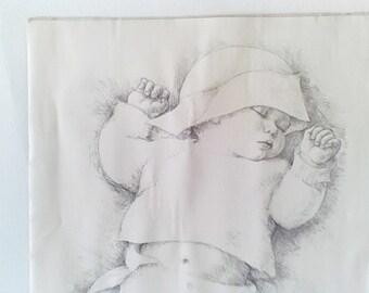 Vintage Sleeping Baby Art Print
