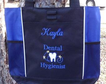 Personalized DENTAL HYGIENIST  Tote Bag Dental Hygienist Gift  Teeth Tote Royal Blue and Black Dentist