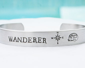 WANDERER Bracelet Personalized Jewelry Custom Hand Stamped Cuff Compass Travel Trailer Camper Gift Friendship Aluminum 12 Gauge Thick Metal
