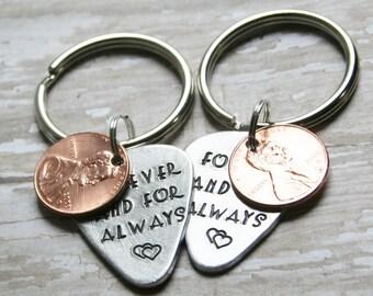Key Chain SET OF 2 Guitar Pick Penny CUSTOM Hand Stamped Aluminum Metal Guitarist Gift Boyfriend Husband Personalized Custom Stamping