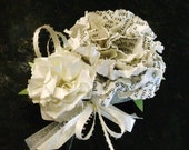 carnation boutonniere buttonhole lapel pin vintage book page white wrist corsage wedding  homecoming prom hair comb