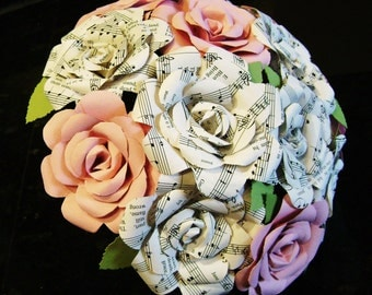 vintage sheet music hymnal roses and pink cardstock or any color) roses bouquet for weddings, toss, rehearsal, bridesmaids, centerpiece rts