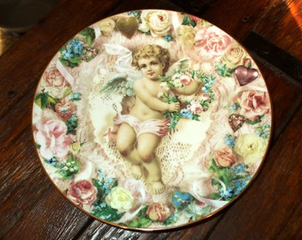Vintage Love's Messengers Collectors Plate To My Love Cupid Roses Hearts Lace Valentine Gift Limited Edition