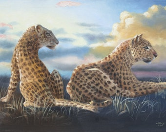 Leopards wildlife animal 11x17 print personally signed by artist RUSTY RUST / L-172
