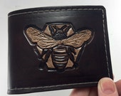 Honey Bee Hand Tooled Leather Wallet