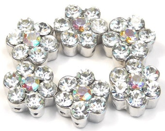 Six 2 Hole Slider Beads 2 Hole Spacer Beads Clear Crystal Daisy Flowers With Rainbow AB Center In Silver Tone Metal Crystal Flower Beads