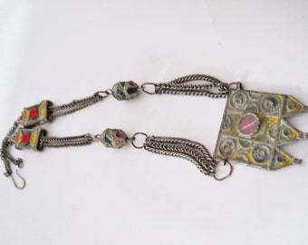 Moroccan Necklace, Berber Jewelry, Berber Necklace, Ida Ou Semlal, Vintage Moroccan Jewelry, Enamel Pendant, Enamel and Glass