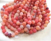 """10mm Matte Pink Orange Crackle Round Fire Agate Beads, full strand, 15"""""""