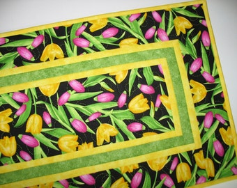 Floral Table Runner, Tulips, Spring, Summer,  reversible, quilted, fabric from Benartex