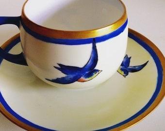Vintage MZ Altrohlau CMR Czechoslovakia Bird Cup Saucer